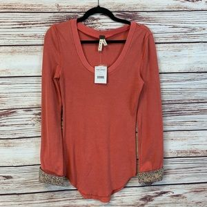 NWT Free People Thermal with Floral Henley Sz L
